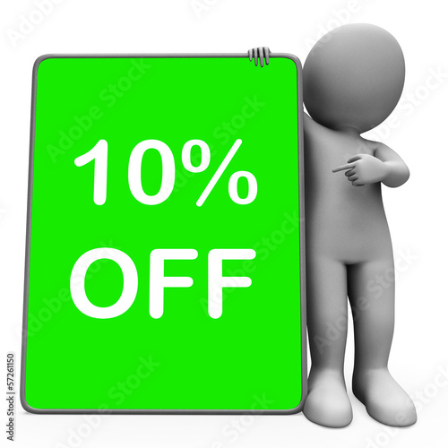 Ten Percent Off Tablet Means 10% Reduction Or Sale Online