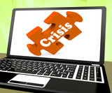 Crisis Laptop Means Catastrophe Troubles Or Critical Situation