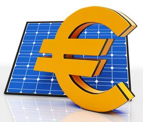 Solar Panel And Euro Shows Saving Energy