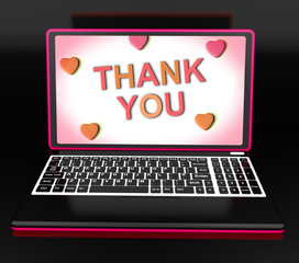 Thank You On Laptop Shows Appreciation Thanks And Gratefulness