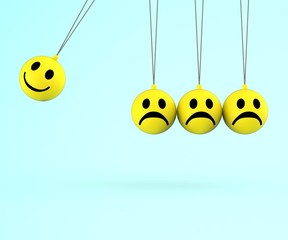 Happy And Sad Smileys Shows Emotions