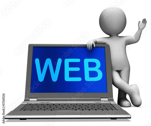 Web Laptop And Character Shows Online Internet Www Or Net