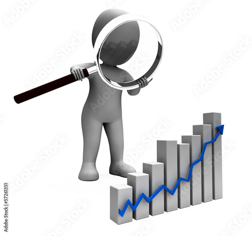 Increasing Graph Character Shows Profit Income Rising