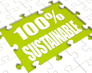 100% Sustainable Puzzle Shows Environment Protected And Recyclin