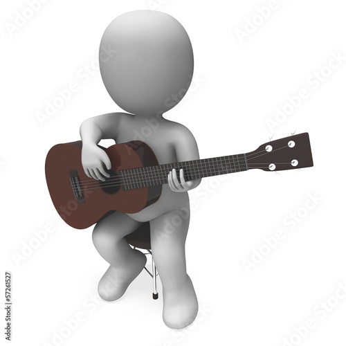 Acoustic Guitarist Character Shows Guitar Music And Performing