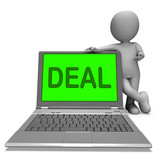 Deal Laptop Shows Bargain Contract Or Dealing Online