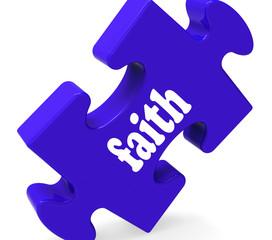 Faith Jigsaw Shows Religious Belief Or Trust