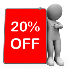 Twenty Percent Off Tablet Character Means 20% Reduction Or Sale