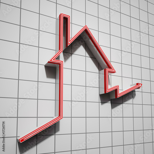 House Icon Shows House Price Going Up
