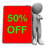 Fifty Percent Off Tablet Character Means 50% Reduction Or Sale O