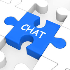 Chat Jigsaw Shows Talking Typing Or Texting