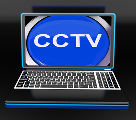 CCTV Laptop Monitor Shows Security Protection Or Monitoring Onli