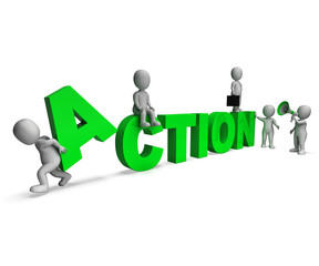 Action Characters Shows Motivated Proactive Or Activity