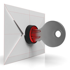 Envelope And Key Shows Secure Email