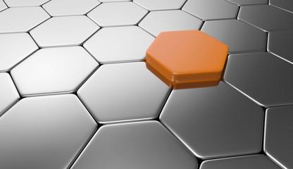 Sechseck Konzept Orange Silber