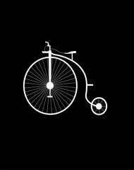 vintage unicycle in silhouette over black