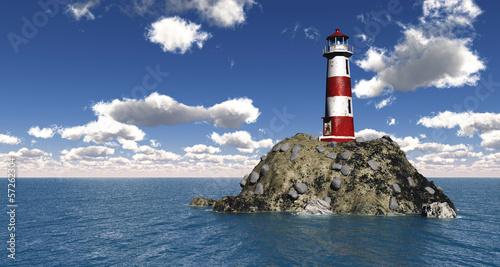 canvas print picture Leuchtturm auf hoher See