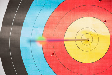 Arrow in bulls eye target