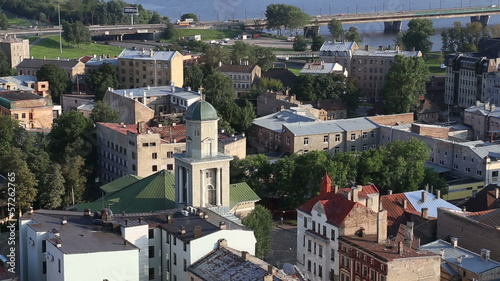 Riga Latvia capital city view from roof