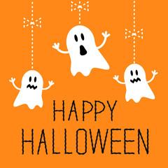 Three hanging Halloween ghosts. Card.