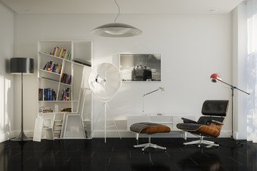 Home details of rest With Lounge Chair And Stylish Lamps