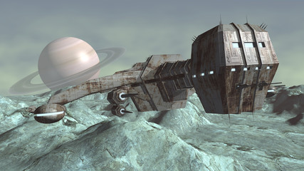 Image of futuristic spaceship above planet