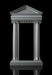Architecture White Marble Columns On Black Background