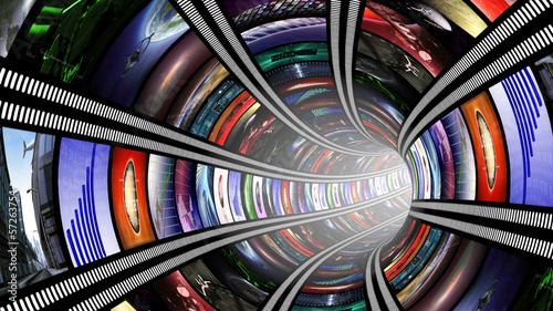 Naklejka Wormhole with video wall