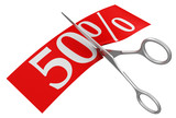 Scissors and 50% (clipping path included)