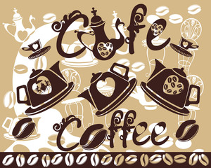 Coffee background with coffeepots