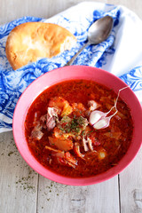 tomato soup with duck and vegetables