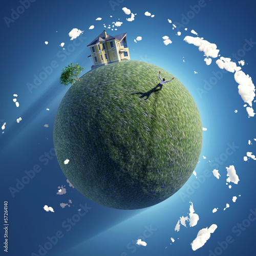 man on green planet