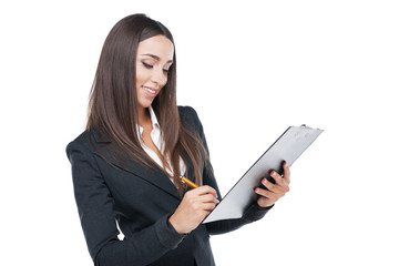 Close up of young business lady with tablet.