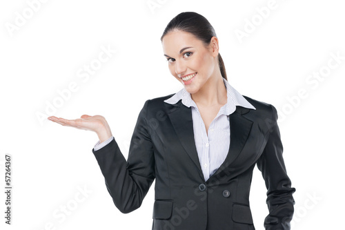 business woman showing copy space with her hand.