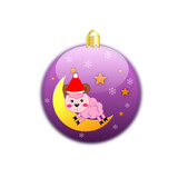 Violet christmas ball with baby sheep