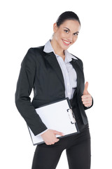 Successful business woman with blank tablet and thumb up.