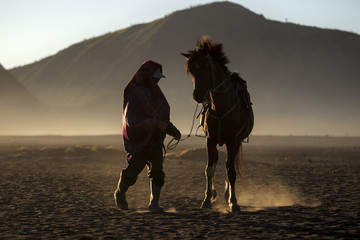 Life of People and Horse in Bromo , Indonesia