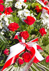Composition of red and white flowers