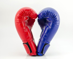 Boxing gloves on a white background close up