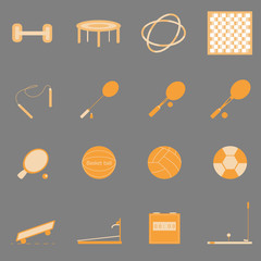 Fitness sport orange color icons on gray background