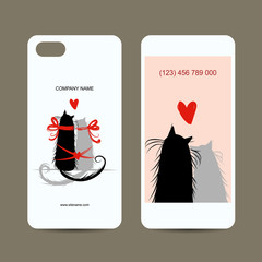 Mobile phone cover back and screen, love cats for your design