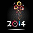 New year 2014 in black background Abstract poster