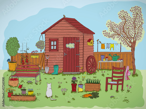 illustration of a beautiful garden