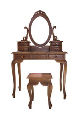 Old wood vanity table and chair