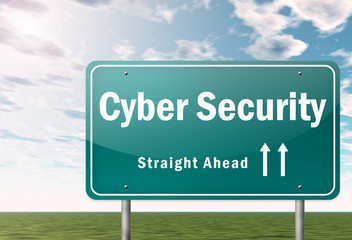 "Highway Signpost ""Cyber Security"""