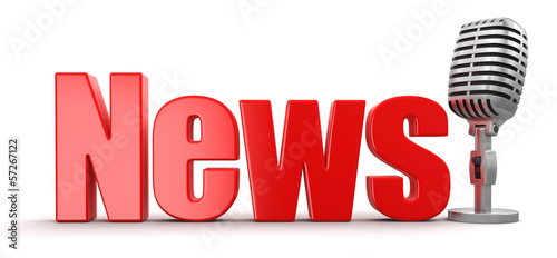 News with Microphone (clipping path included)