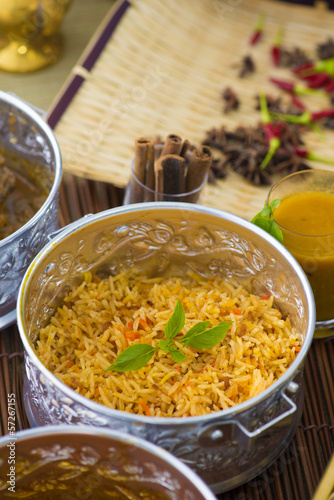 Chicken Biryani in silver plate