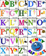 Funny alphabet with pictures for children, ALL LETTERS