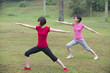 asian girls working out outdoor park
