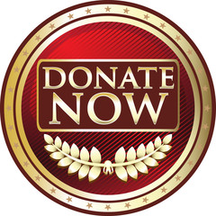 Donate Now Red Vintage Label